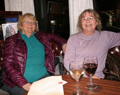 Thelma and Anne enjoy a pre-event glass