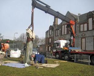 Erecting the Juniper Green monument